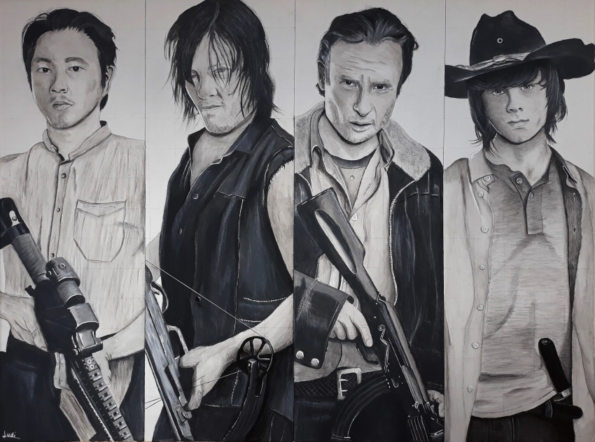 Steven Yeun, Chandler Riggs, Norman Reedus, Andrew Lincoln by Ludi